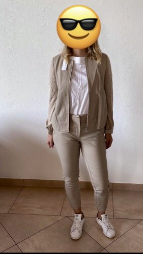 Stefanel Leather Trousers beige-cream