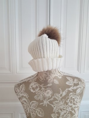 Bonnet à pompon multicolore viscose