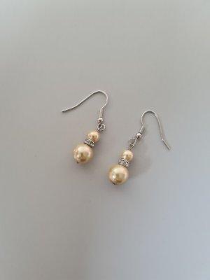 Orecchino di perle argento-crema