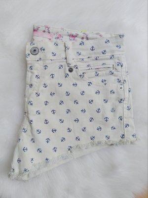 cremefarbene Shorts / Kurze Hose mit blauen Ankern.  Wie neu, nur zweimal getragen.
