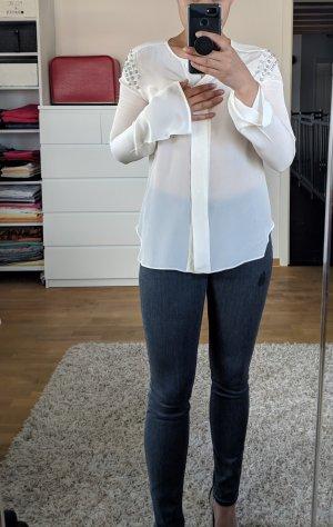 Cremefarbene Zara Seidenbluse mit Strass an den Schultern