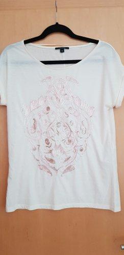 Cremefarbenenes Comma T-Shirt mit Pailletten