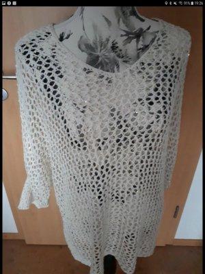 Laura Torelli Camisa de malla color oro-blanco puro