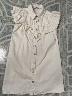 Zara Robe en jean crème-blanc cassé jean