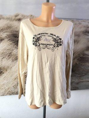 Cremefarbenes Langarmshirt mit Druck und Glitzersteinchen * Neu mit Etikett