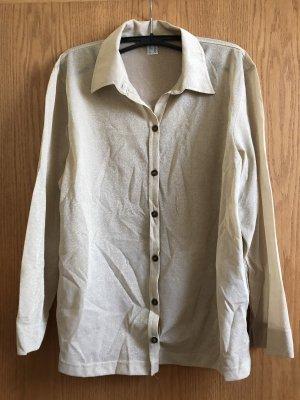 Cremefarbige langärmelige Bluse