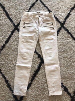 Zara Woman Spodnie biodrówki kremowy