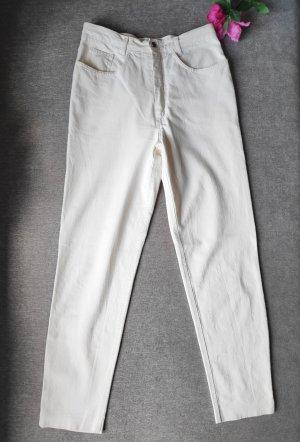 Cremeweiße cremefarbene Vintage Hose Mom fit Größe 40