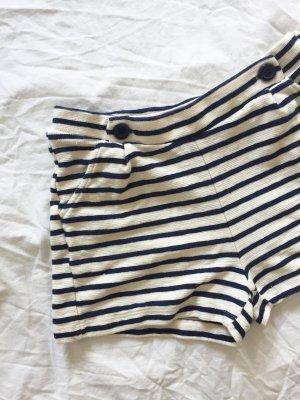 Cremeweisse Shorts mit blauen Streifen 100 % Baumwolle