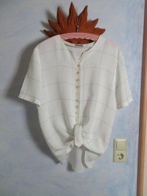 Cremeweiße Taifun Collection Creme Bluse bestickt im Gittermuster S M L 100% Viskose Hemd