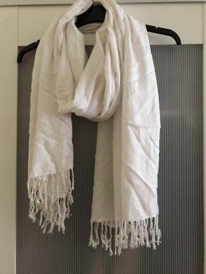 H&M Bufanda de flecos blanco puro