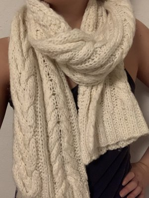 H&M Divided Knitted Scarf natural white