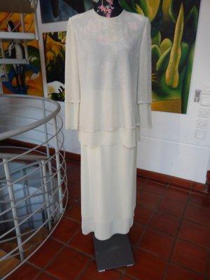 Cremeweißes Cocktailkleid, Abendkleid, Gr 42, 2 teilig, spanischer Designer