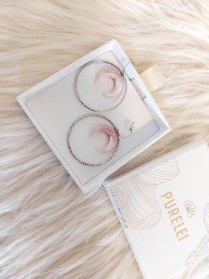 Purelei Pendientes tipo aro color plata-color rosa dorado