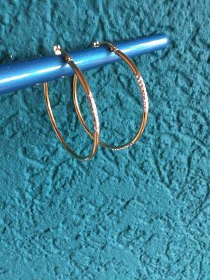 Creolen 333  gold 4cm mit Muster