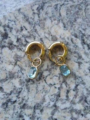 Unbekannte Marke Pendientes tipo aro color oro-azul claro