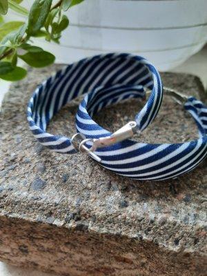 Unbekannte Marke Orecchino a cerchio bianco-blu