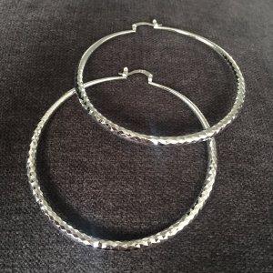 Creolen Ohrringe 925 plattiert groß 7cm
