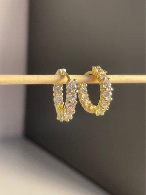 925er Silber Pendientes tipo aro color oro