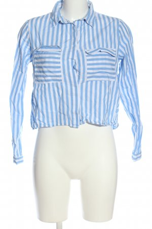 CREP Long Sleeve Shirt blue-white striped pattern business style