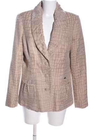 CRÉTON Woll-Blazer creme abstraktes Muster Business-Look