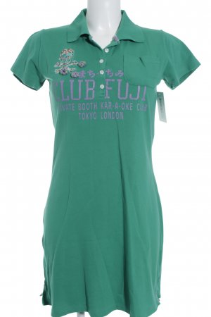 Crew United Mini Dress green printed lettering athletic style