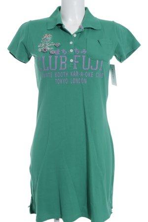 Crew United Minikleid grün Schriftzug gedruckt sportlicher Stil