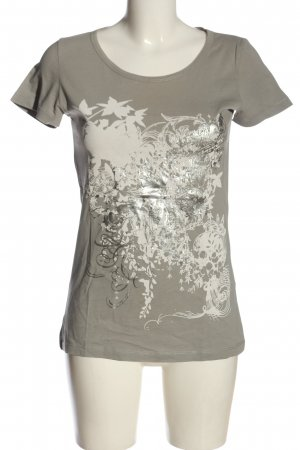 Crew United T-Shirt light grey-natural white abstract pattern casual look