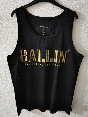 Criminal Damage Vestido estilo camisa negro-color oro