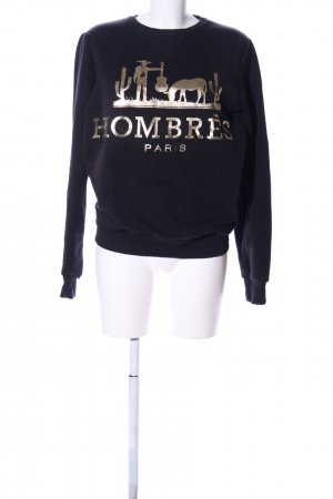 Criminal Damage Sweat Shirt black-gold-colored themed print casual look