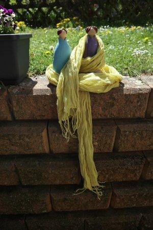 Gudrun Sjöden Crinkle Scarf lime yellow cotton