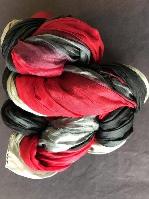 Crinkle Seidenschal Farbverlauf anthrazit/rot/grau
