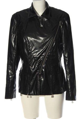 Cris Devi Faux Leather Jacket black casual look