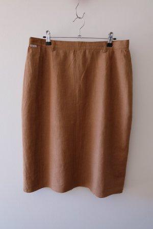 Vintage Lniana spódnica brązowy-jasnobrązowy Len
