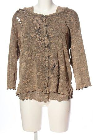 Cris Moda Dzianinowy podwójny zestaw  kremowy-brązowy W stylu casual