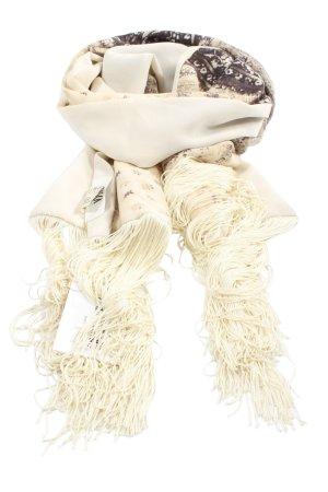 Crisca Sciarpa con frange bianco sporco-marrone motivo astratto stile casual
