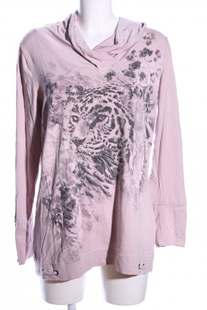 Crisca Hooded Shirt lilac-light grey themed print casual look