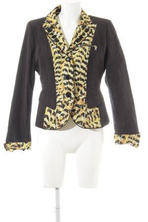 Crisca Kurz-Blazer schwarz-gelb Animal-Look