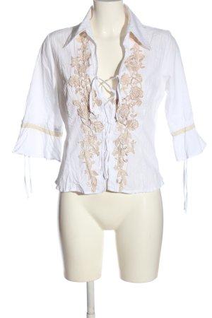 Crisca Langarm-Bluse weiß-braun Elegant