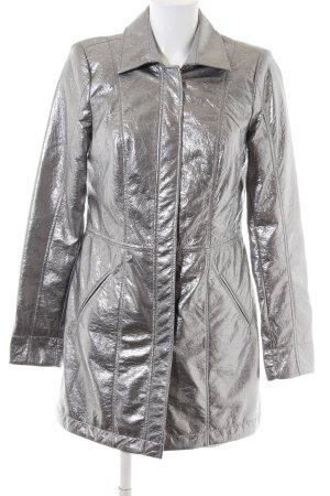 Crisca Lange Jacke silberfarben extravaganter Stil