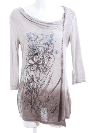 Crisca Longshirt wollweiß-braun abstraktes Muster Casual-Look