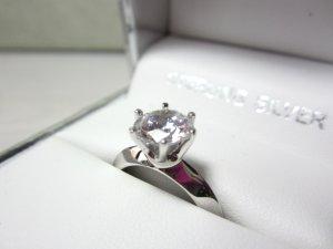 CRISLU Ring 925 Sterling Silber Solitär großer Zirkonia, 18,2mm