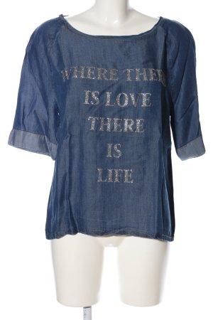 Cristina Gavioli Print Shirt blue printed lettering casual look