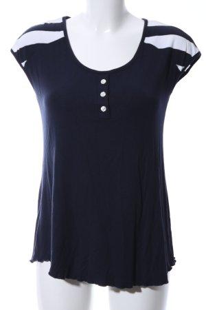 T-Shirt blau-weiß Streifenmuster Casual-Look