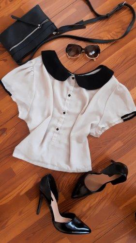 Crop Bluse mit Bubi Kragen