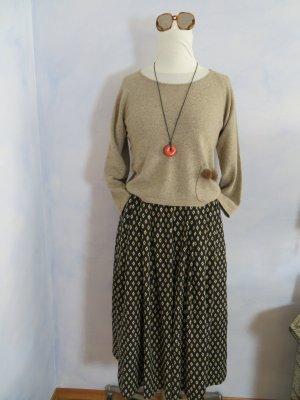 Crop Hellbraun Wolle Cashmere Pullover - Braun Nerz Applikation - Gr. 36 - Cosy Weich Warm - 100% Naturfasern