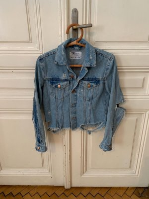 Crop Jeansjacke destroyed look