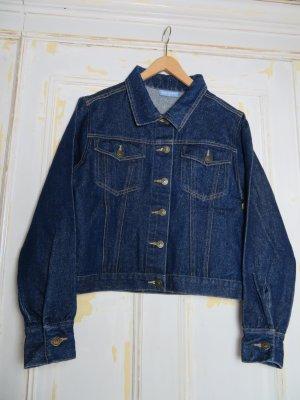 Crop Jeansjacke mit feinem Glitzer, Dunkelblau Gold, Gr. S, Vintage Boho Style