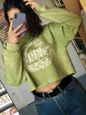 Crop Oversized Pullover Sweater bedruckt mit Batik Tie Dye Muster