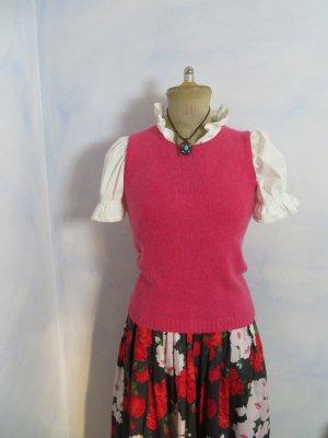 Crop Pink 100% Cashmere Pullunder Top - Größe S - Ärmellos Stricktop Pullover Pullunder - Vintage